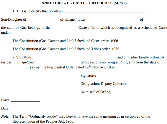 Goa ANM Caste Certificate Format