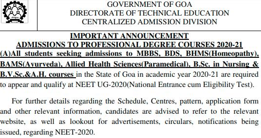 Goa BSc. Nursing 2020