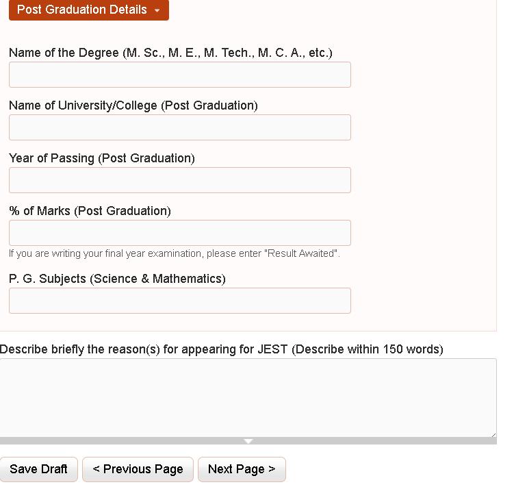 JEST 2020 Post Graduation Details