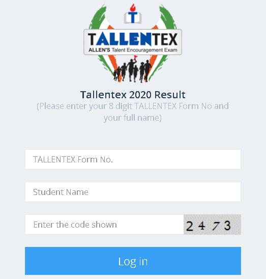 TALLENTEX Result Login Section