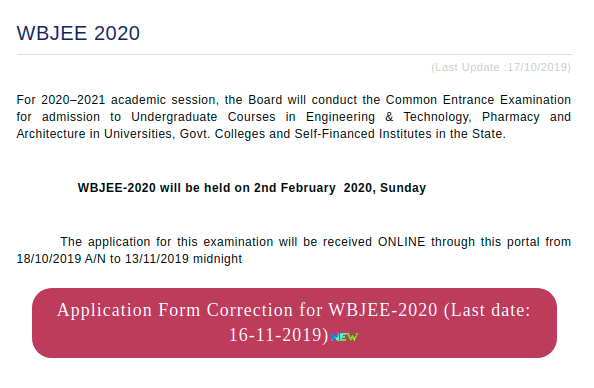 WBJEE Application Form Correction