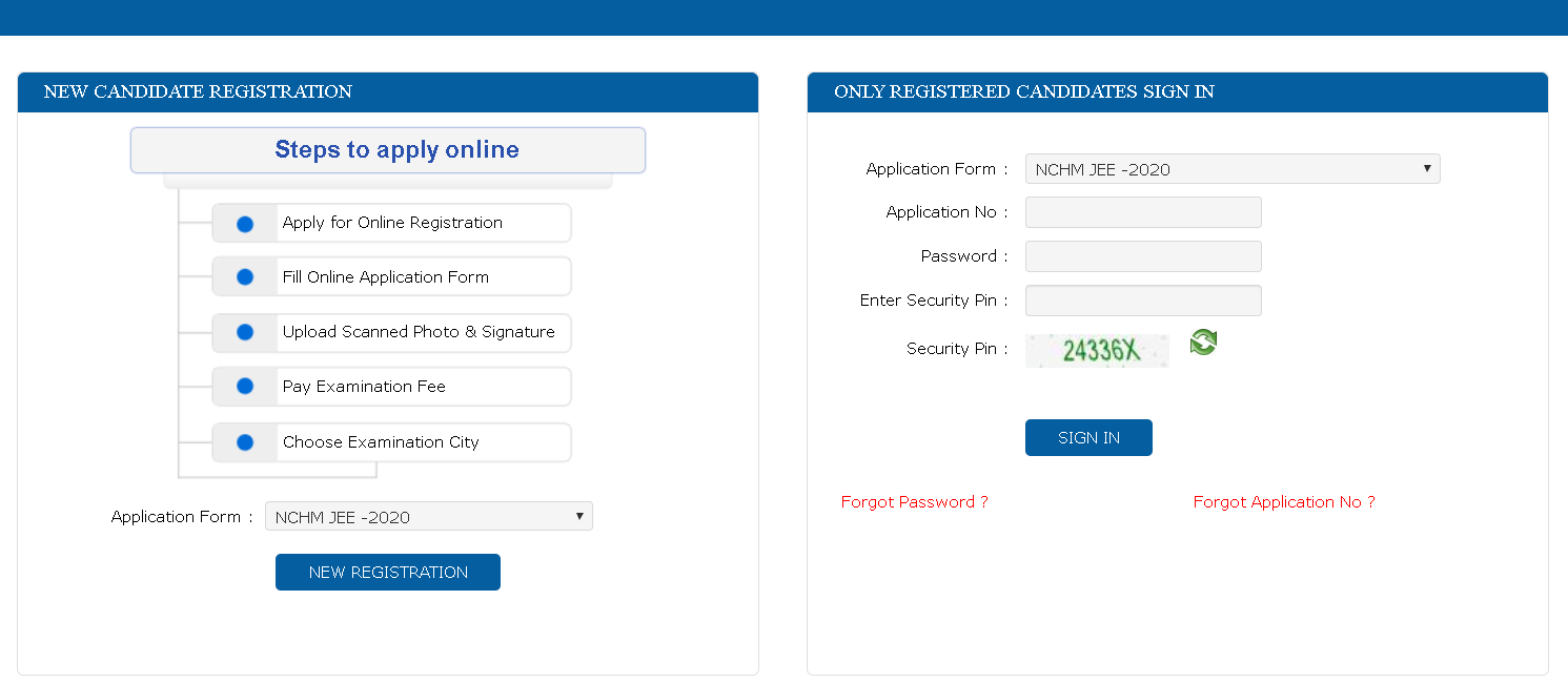 NCHM JEE Application Form New Registration