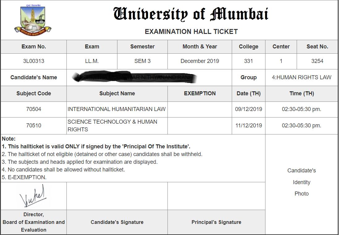 University of Mumbai Hall Ticket