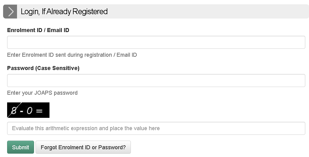 IIT JAM Response Sheet Login Section
