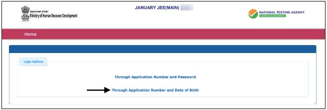 JEE Main Application No. & D.O.B
