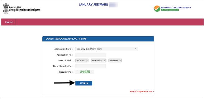 NTA JEE Main application no., and D.O.B