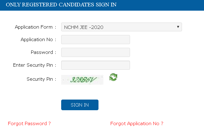 NCHM JEE Application Form Image Discrepancy Login Section