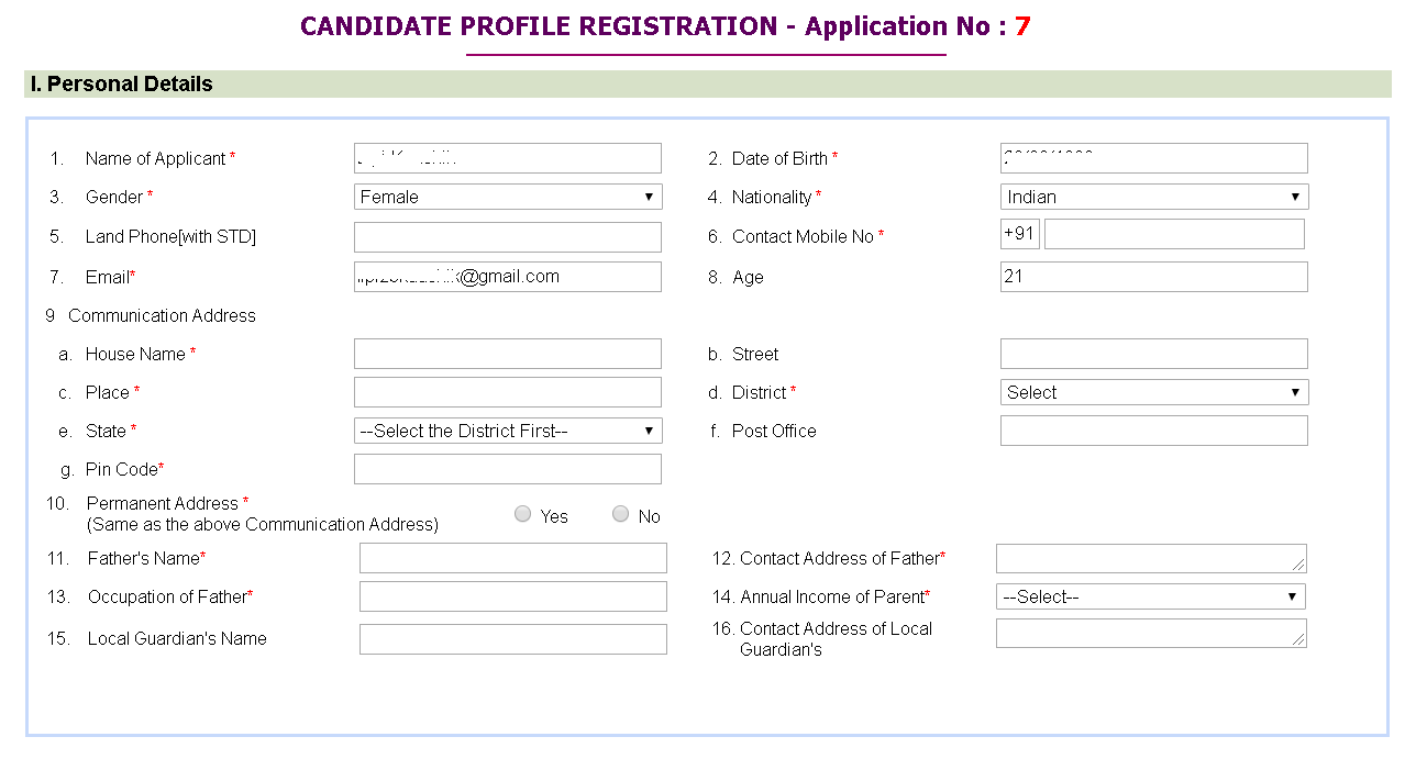 Kerala University MBA Application Form Candidate Profile Registration