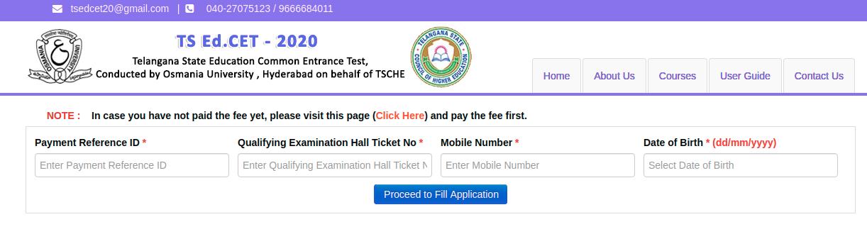 TS EDCET Application Form