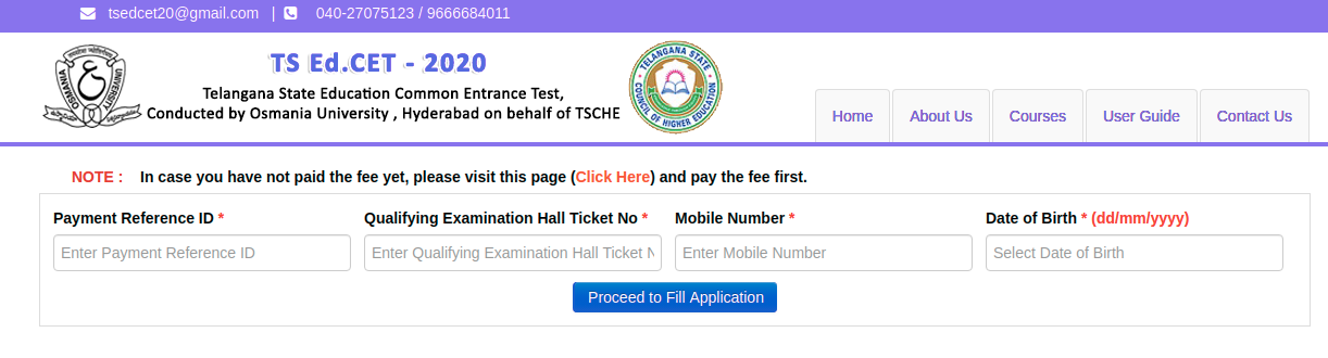 TS EDCET Application Form