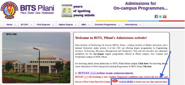 BITSAT Official Page for Slot Booking