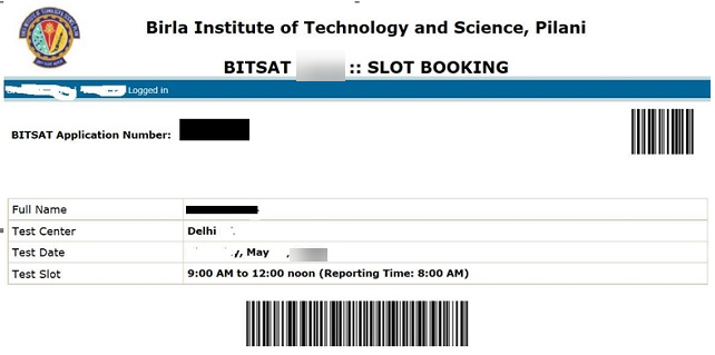 BITSAT Slot Booking Confirmation Page