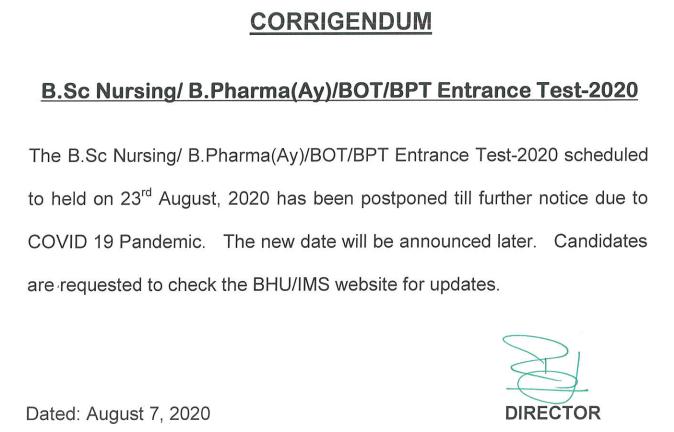 BHUNursingTestPostponed
