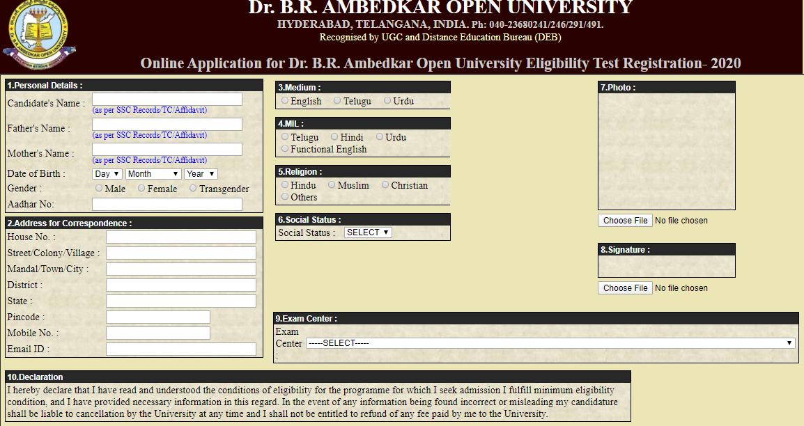 BRAOU Application Form