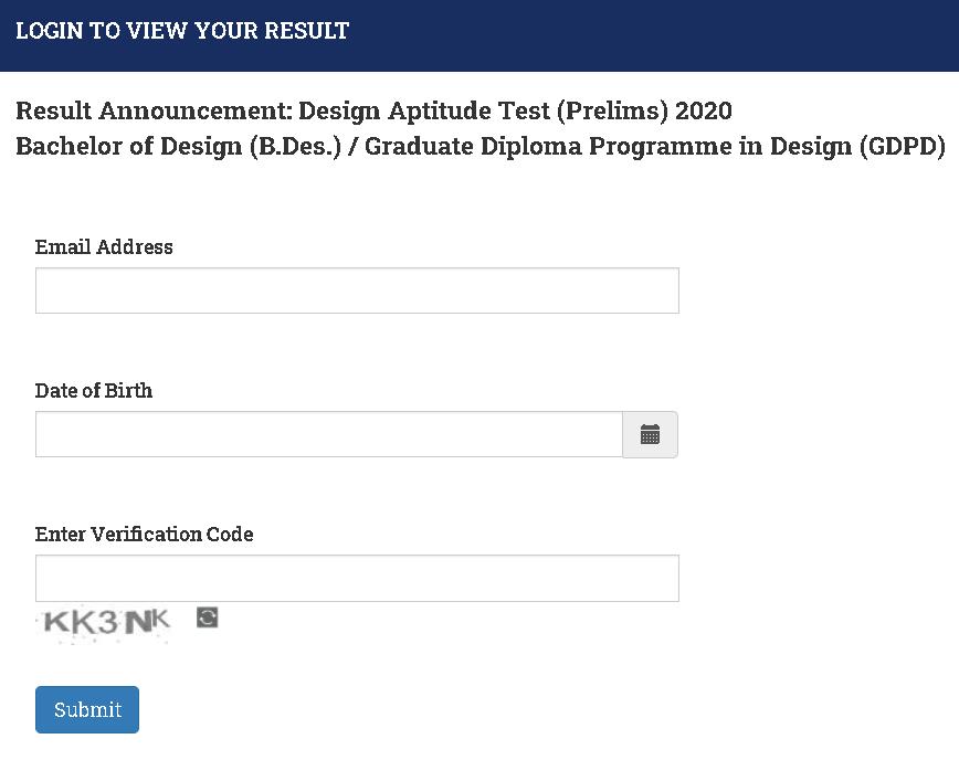 NID B.Des GDPD Result Login Section