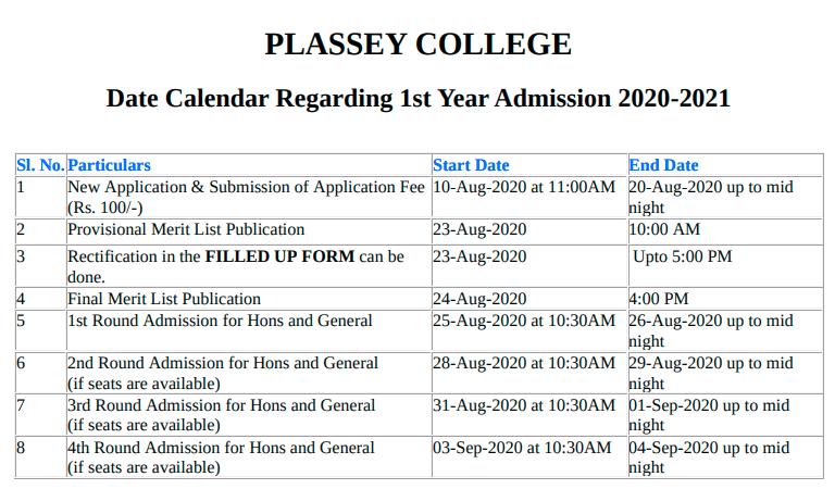PLASSEY COLLEGE dates
