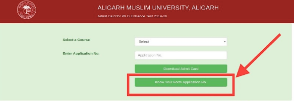 AMU Forgot Application Number