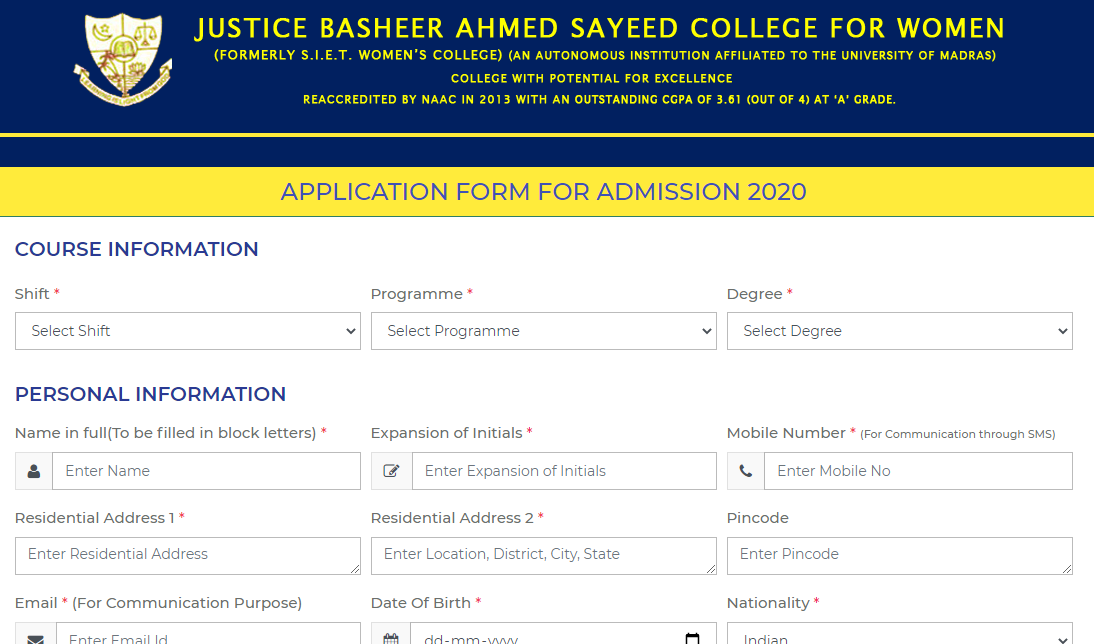 JBAS College Application Form
