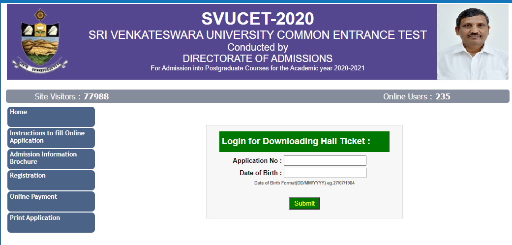 SVUCET Hall Ticket