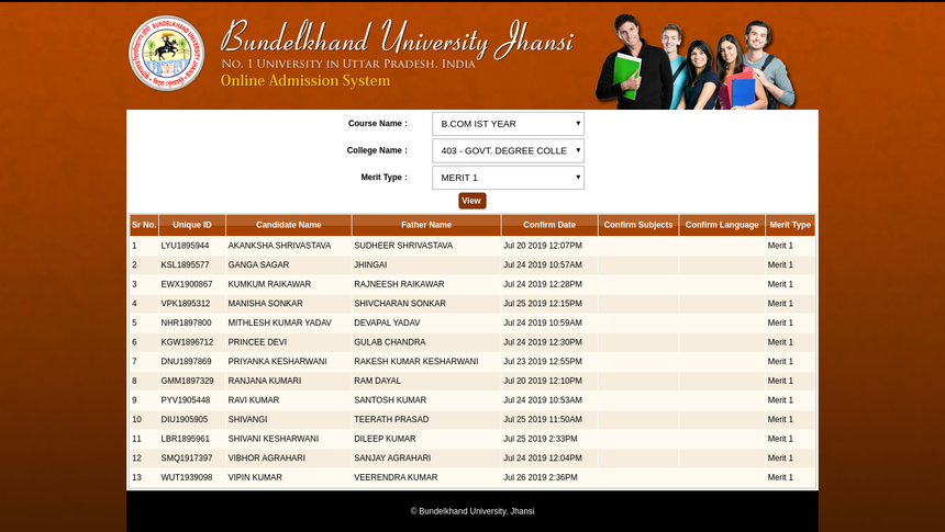 BU Jhansi Merit List