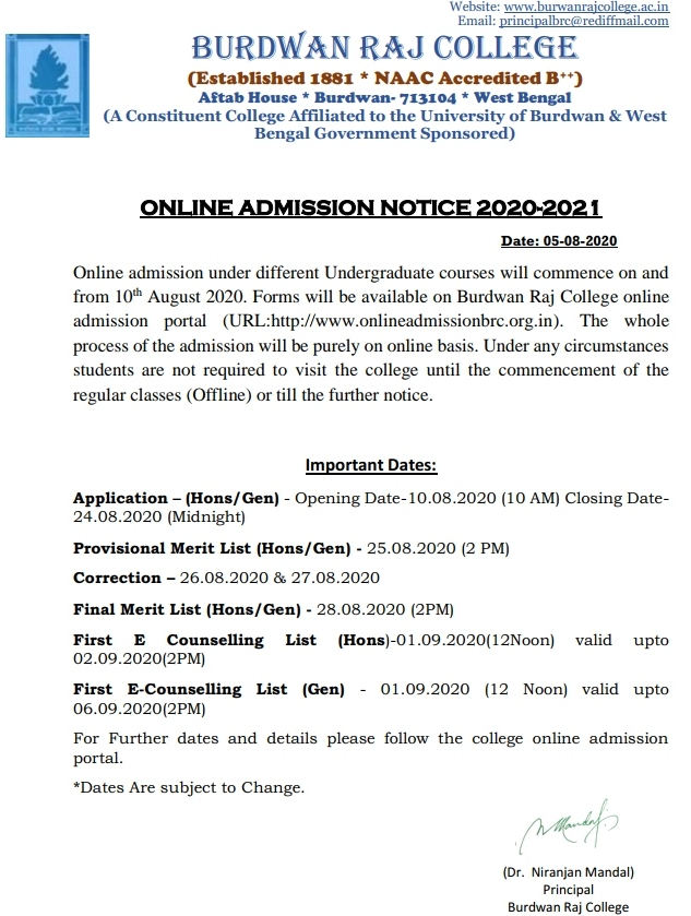 Burdwan Raj College Admission Notice