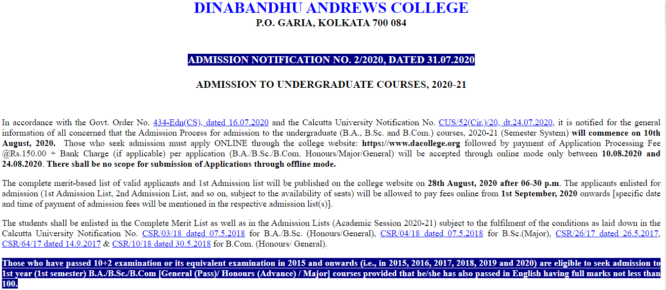 Dinabandhu Andrews College Admisison