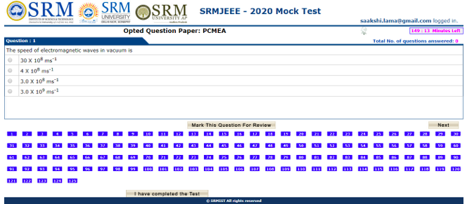 SRM B.Tech Mock Test