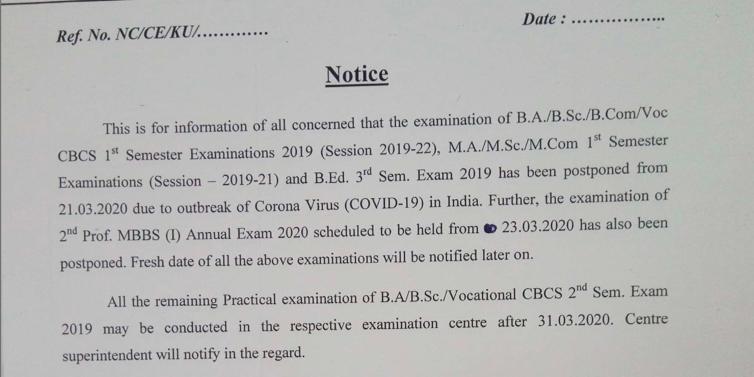 Kolhan University Exam Dates