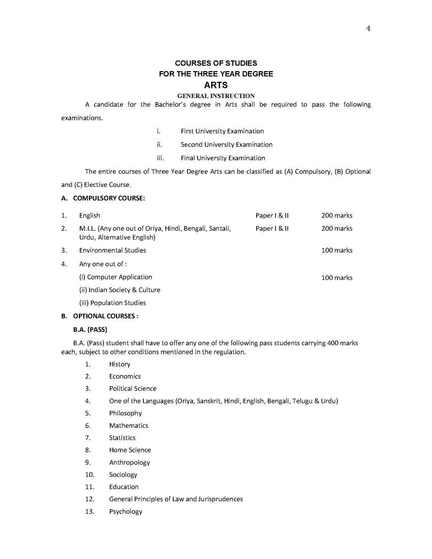 Sambalpur University Syllabus