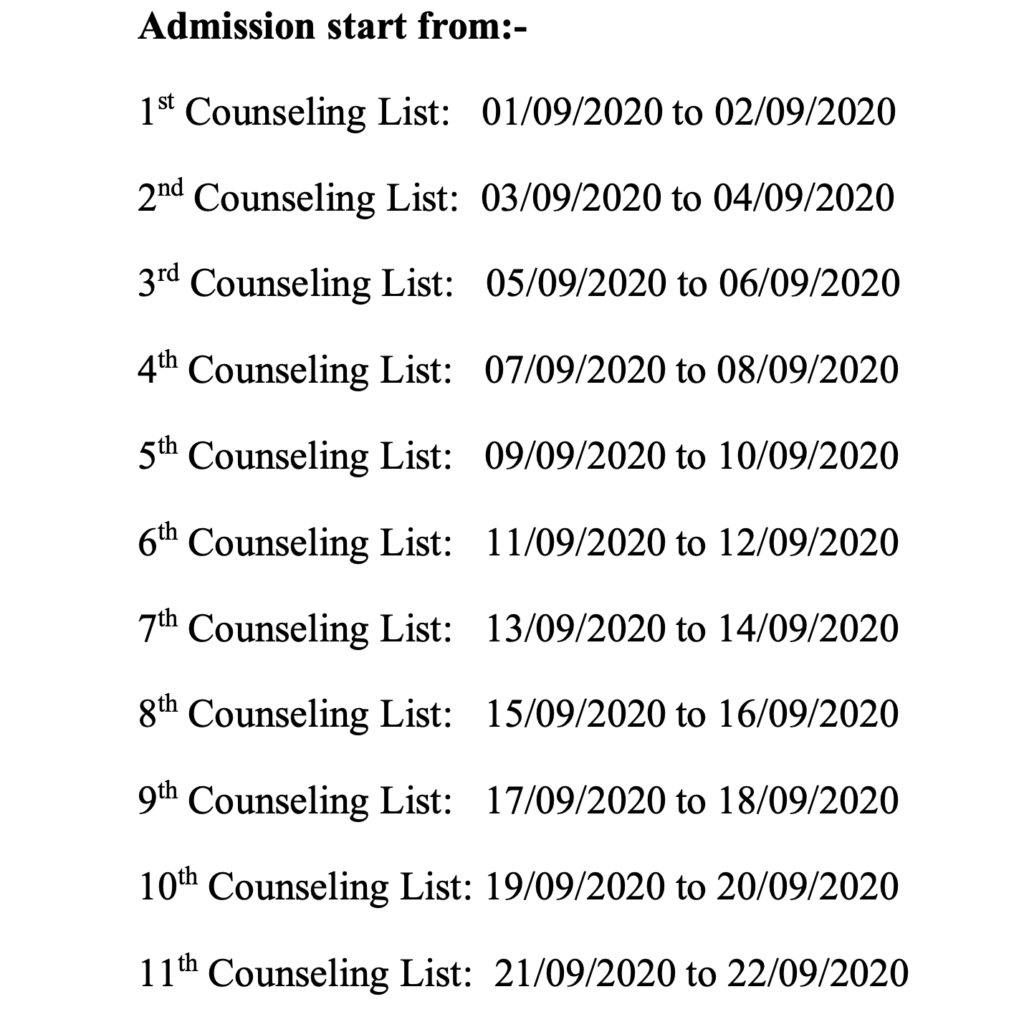 AMADM Counselling Schedule