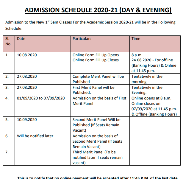 Bidhan Chandra College Admission Schedule