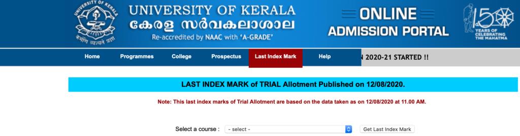 Kerala University Trial Allotment Result