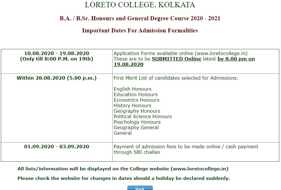 Loreto College admission schedule