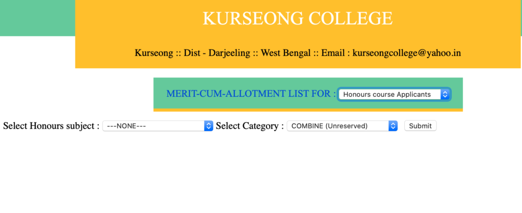 kurseong merit list