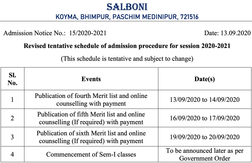 Salboni College schedule