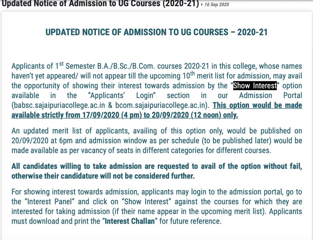 Jaipuria College Notice