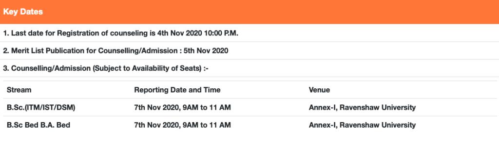 Ravenshaw University Counselling Dates