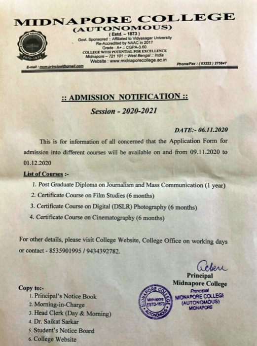 Midnapore College Admission