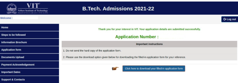 vitee application form submission