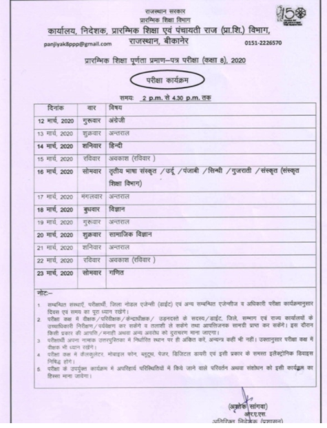 Rajasthan Board 8th Class Time Table