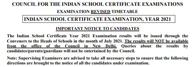 ICSE Board Result 2021