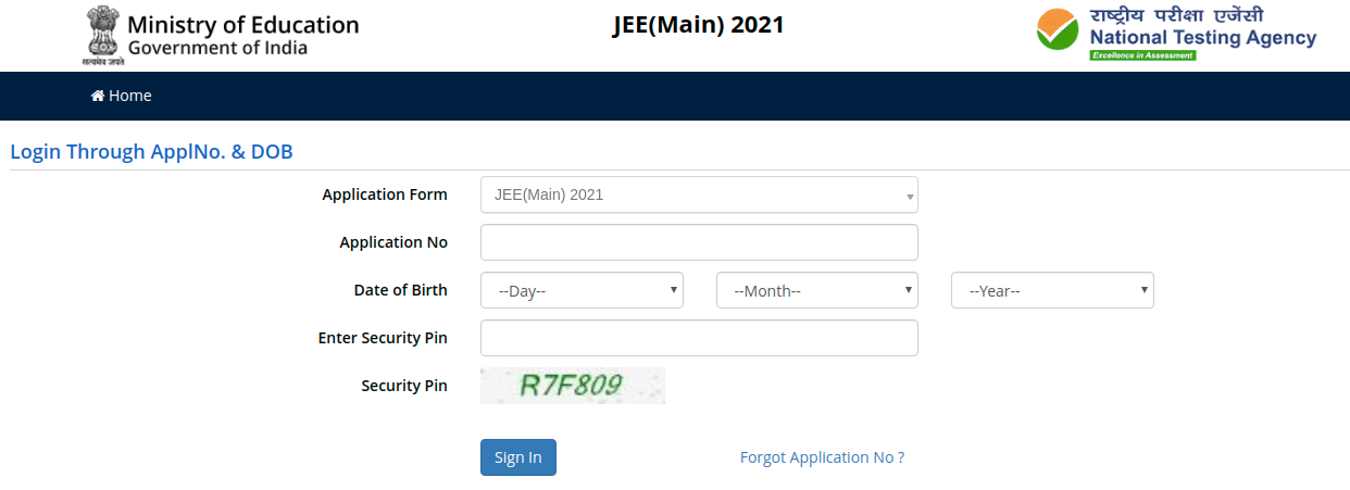 JEE Main login through application no. and date of birth