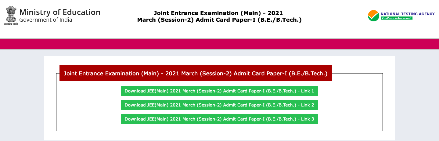 jee main admit card march