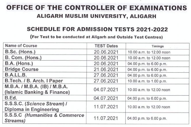 AMU exam date