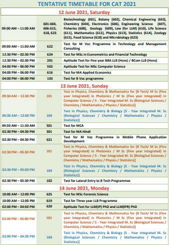 CUSAT CAT Timetable