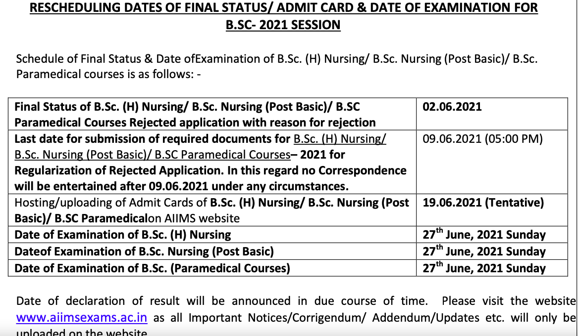 AIIMS Nursing Revised Schedule