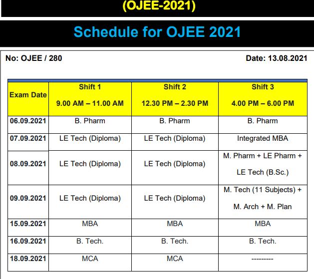 OJEE Schedule 2021